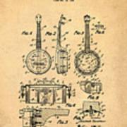 Dixie Banjolele Patent 1954 In Sepia Art Print