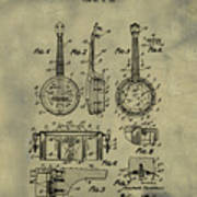 Dixie Banjolele Patent 1954 In Weathered Art Print