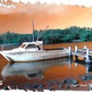 Do-00108 Boat At Sunset Art Print