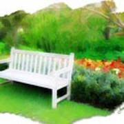 Do-00138 White Bench Art Print