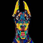 Doberman Dog Breed Head Breed Pet True Friend Color Designed Art Print