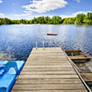 Dock On Lake In Summer Cottage Country Art Print by Elena Elisseeva