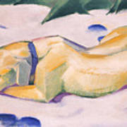 Dog Lying In The Snow C.1911 Art Print