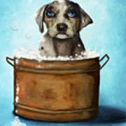 Dog N Suds Art Print by Leah Saulnier The Painting Maniac