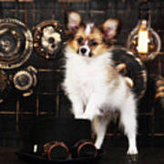 Dog On A Dark Background In The Style Of Steampunk Art Print