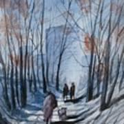 Dog Walking 2, Watercolor Painting Art Print