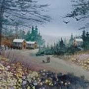 Dog Walking, Watercolor Painting  Art Print
