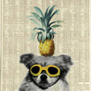 Dog With Goggles And Pineapple Art Print