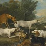 Dogs In A Landscape With Their Catch Art Print