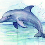 Dolphin Watercolor Art Print