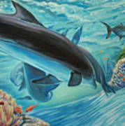 Dolphins At Play Art Print