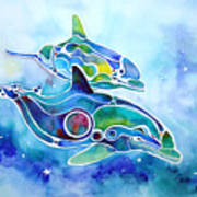 Dolphins Dance Art Print