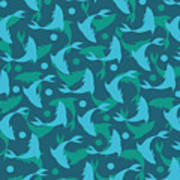 Dolphins In Blue  Art Print