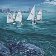Dolphins In Corpus Christi Bay Art Print