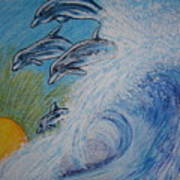 Dolphins Jumping In The Waves Art Print