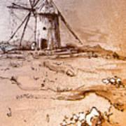 Don Quijote Windmills 06 Art Print