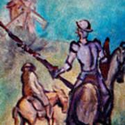 Don Quixote With Windmill Art Print
