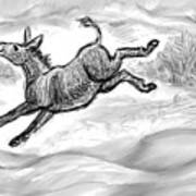 Donkey Frolicking In The Snow Art Print