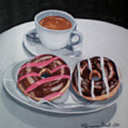 Donuts And Coffee- Donas Y Cafe Art Print