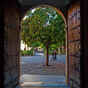 Doorway And Arch Between Gardens Art Print