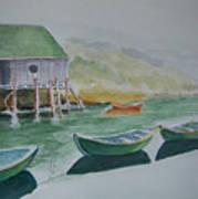 Dories In Waiting Art Print