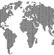 Dot Map Of The World - Black And White Art Print by Michael Tompsett