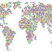 Dot Map Of The World - Colour On White Art Print