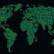 Dot Map Of The World - Green Art Print by Michael Tompsett
