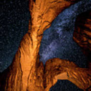 Double Arch And The Milky Way - Utah Art Print