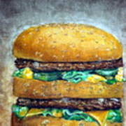 Double Burger To Go Art Print