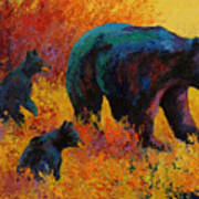 Double Trouble - Black Bear Family Art Print by Marion Rose