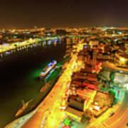 Douro River Skyline Night Art Print