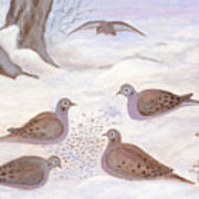 Doves In New York - Winter Art Print by Anna Folkartanna Maciejewska-Dyba