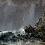 Downpour At Etretat  Art Print