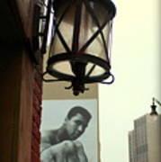 Downtown Detroit Light Fixture With Muhammad Ali Billboard Art Print