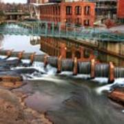 Downtown Greenville On The River Winter Art Print
