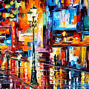 Downtown Lights - Palette Knife Oil Painting On Canvas By Leonid Afremov Art Print