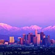 Downtown Los Angeles In Winter Art Print by Andrew Kennelly