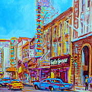 Downtown Montreal Street Rue Ste Catherine Vintage City Street With Shops And Stores Carole Spandau  Art Print