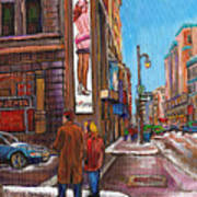 Downtown Montreal Streetscene At La Senza Art Print