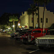 Downtown Old Cars Art Print