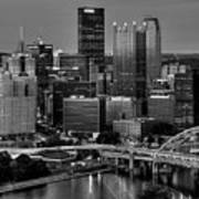 Downtown Pittsburgh At Twilight - Black And White Art Print