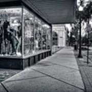 Downtown Sidewalk In Black And White Art Print