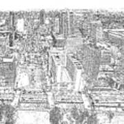 Downtown St. Louis Panorama Sketch Art Print