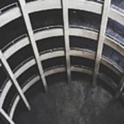 Downward Spiral - Looking Down Parking Garage Art Print