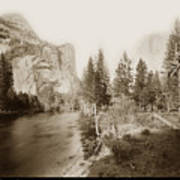 Domes And Royal Arches From Merced River Yosemite Valley Calif. Circa 1890 Art Print