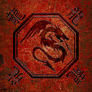 Dragon In An Octagon Frame With Chinese Dragon Characters Red Tint  Art Print