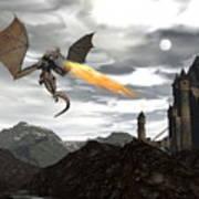 Dragon Scenery - 3d Render Art Print