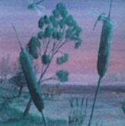 Dragonflies In The Dusk Art Print by Robert Meszaros