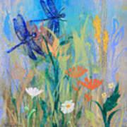 Dragonflies In Wild Garden Art Print